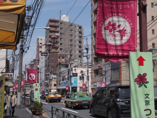 TOKYO - quartier NEZU : rue typique (Shinobazu dori)