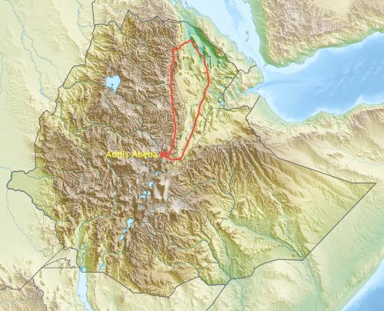 Le relief de l'Ethiopie