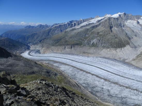Bas du glacier d'ALETSCH du haut d'Eggishorn