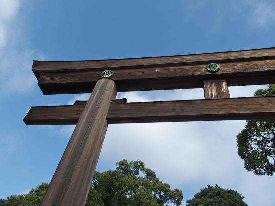 Le grand torii en bois marquant l'entrée du sanctuaire Meiji